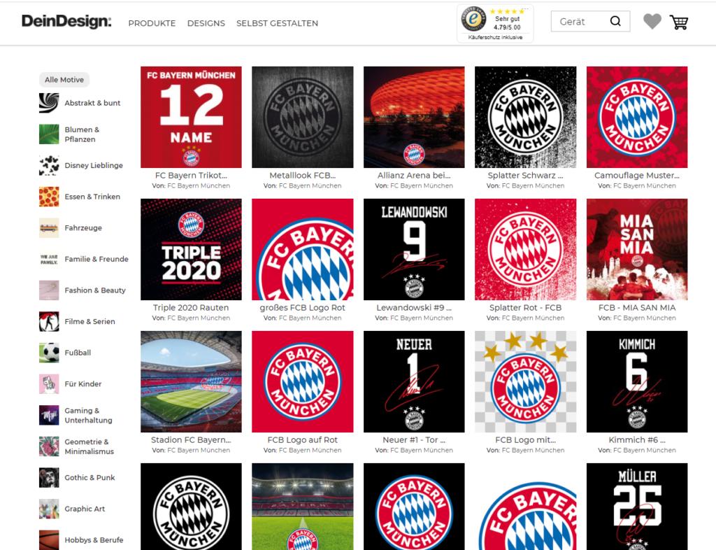 Übersicht der Styles für eine Handyhülle mit FC Bayern München Aufdruck